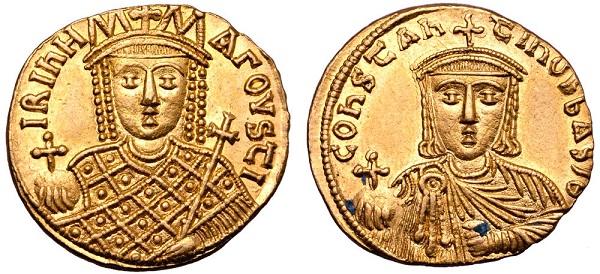 Oro degli Isaurici - Splendido esemplare di solido di Irene (nel R/ Costantino VI). Oro, gr. 4,43, mm 20, h. 6