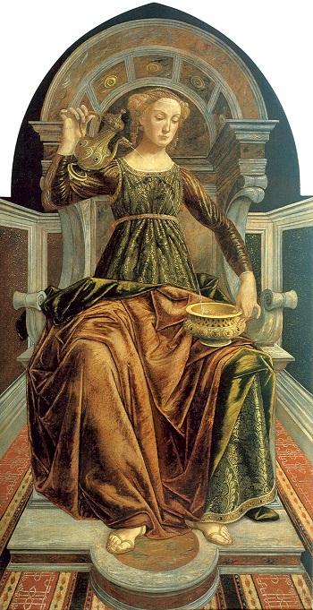 La virtù della Temperanza vista da Pollaiolo e oggi conservata agli Uffizi