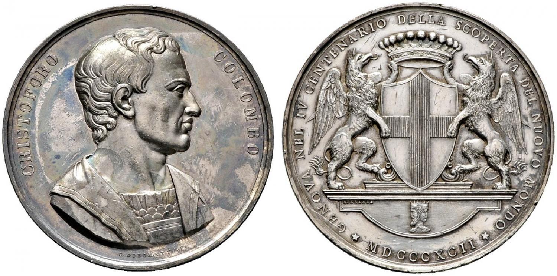 Medaglia omaggio della città di Genova, che si ritiene luogo d'origine del grande esploratore, alla memoria di Cristoforo Colombo nel IV centeneario della scoperta dell'America, 1892