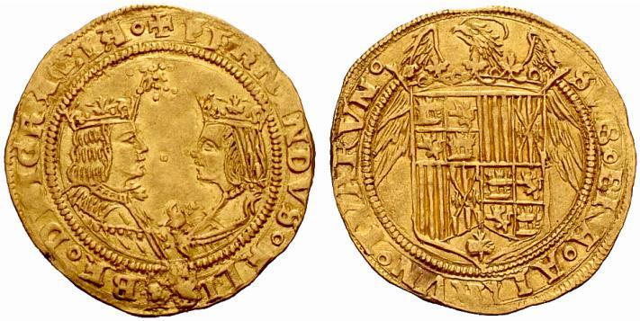 Moneta da due excellentes a nome di Ferdinando d'Aragona e Isabella di Castiglia. Una coniazione in oro da circa 7 grammi per 30 millimetri di diametro