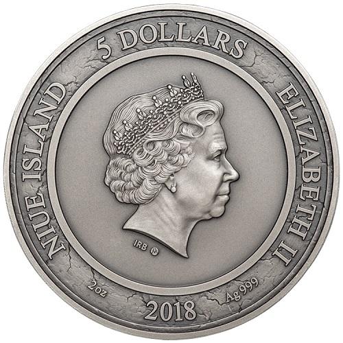 Sua maestà Elisabetta II sul dritto dei 5 dollari di Niue: una sovrana per la quale il tempo sembra davvero essersi fermato