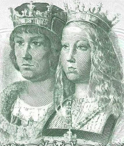 """I """"re cattolici"""" raffigurati al fronte di una banconota da 1.000 pesetas emessa in Spagna negli anni '50"""