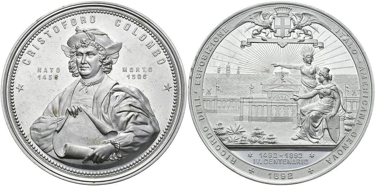 Medaglia di grande modulo (mm 90) coniata nel 1892 a ricordo dell'Esposizione Italo-Americana che si tenne a Genova; altri eventi si terrero negli Stati Uniti d'America
