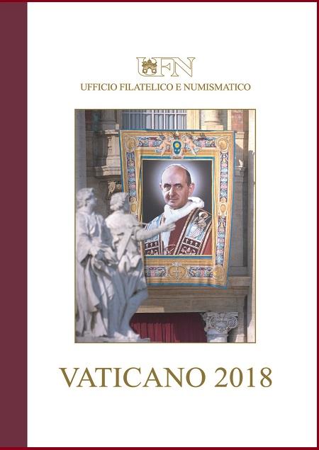 l'oro e l'argento sui 5 euro per papa Montini - La copertina del volume che raccoglie tutti i prodotti postali del Vaticano emessi nel corso del 2018