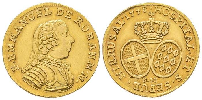 Dieci scudi in oro del 1778 a nome del Gran Maestro Emmanuel de Rohan (1775-1797)