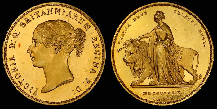 """Un eccezionale esemplare del 1839 di moneta in oro da 5 sterline """"Una and the Lion"""""""