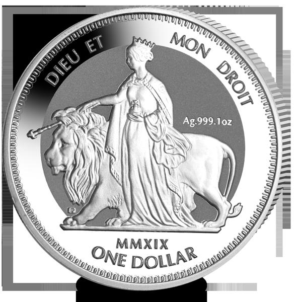 """Il rovescio riproposto oggi sul dollaro da un'oncia d'argento delle BRitish Virgin Islands: si noti l'effetto """"frosted"""" (ghiacciato) del fondo della moneta"""