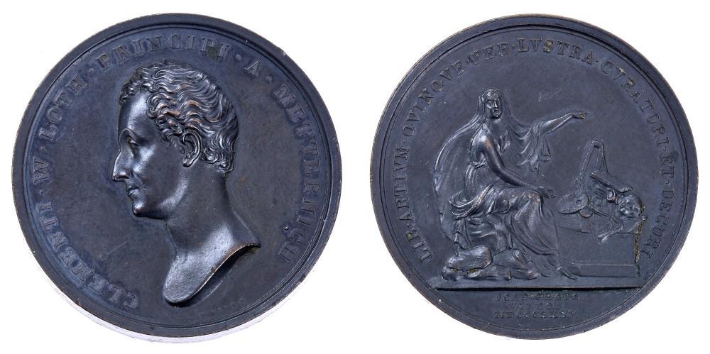 Fig. 3. 1835. Luigi Pichler, Metternich. 25° anniversario dell'incarico di curatore dell'Accademia di Belle Arti di Vienna (AE, mm 44; Venezia, Museo Correr, cl. XXXIX, n. 2690)