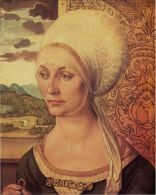 """""""Ritratto di Elspet Tucher"""" eseguito da Durer nel 1499: mirabile la fusione tra stilemi nordici e italiani"""