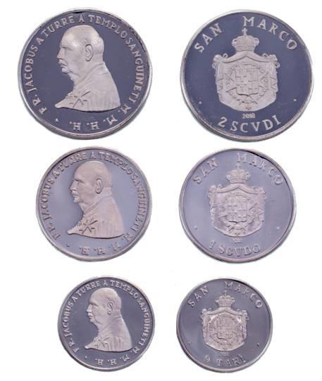 Tre monete coniate dallo SMOM in argento: da 2 e 1 scudo e da 9 tarì