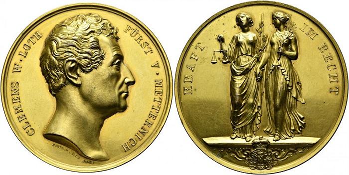 Fig. 5. 1841. Conrad Lange, Il principe di Metternich (Ae dorato, mm 49; collez. privata)