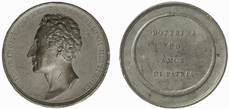 Fig. 6. 1838. Luigi Cossa, Il principe di Metternich (Pb, mm 49; Venezia, Museo Correr, cl. XXXIX, n. 2682)