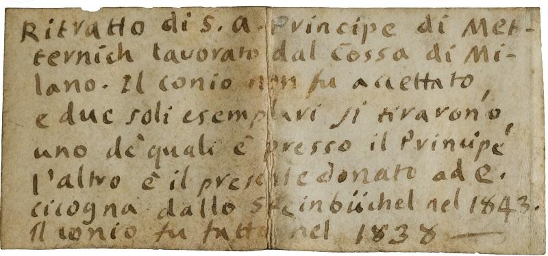 """Fig. 7. Il biglietto manoscritto associato alla medaglia """"fantasma"""" di Luigi Cossa per Metternich - una medaglia """"fantasma"""" ritrovata per il principe di Metternich"""
