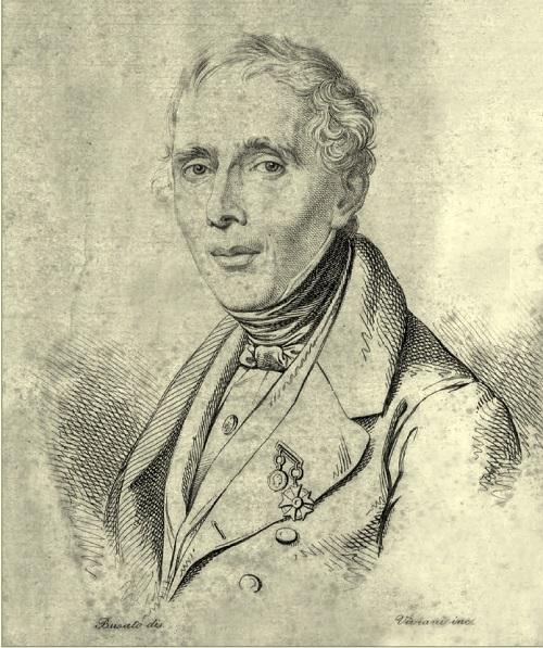 Fig. 8. Ritratto di Emanuele Antonio Cicogna (disegno di Giovanni Busato e incisione di Antonio Viviani)