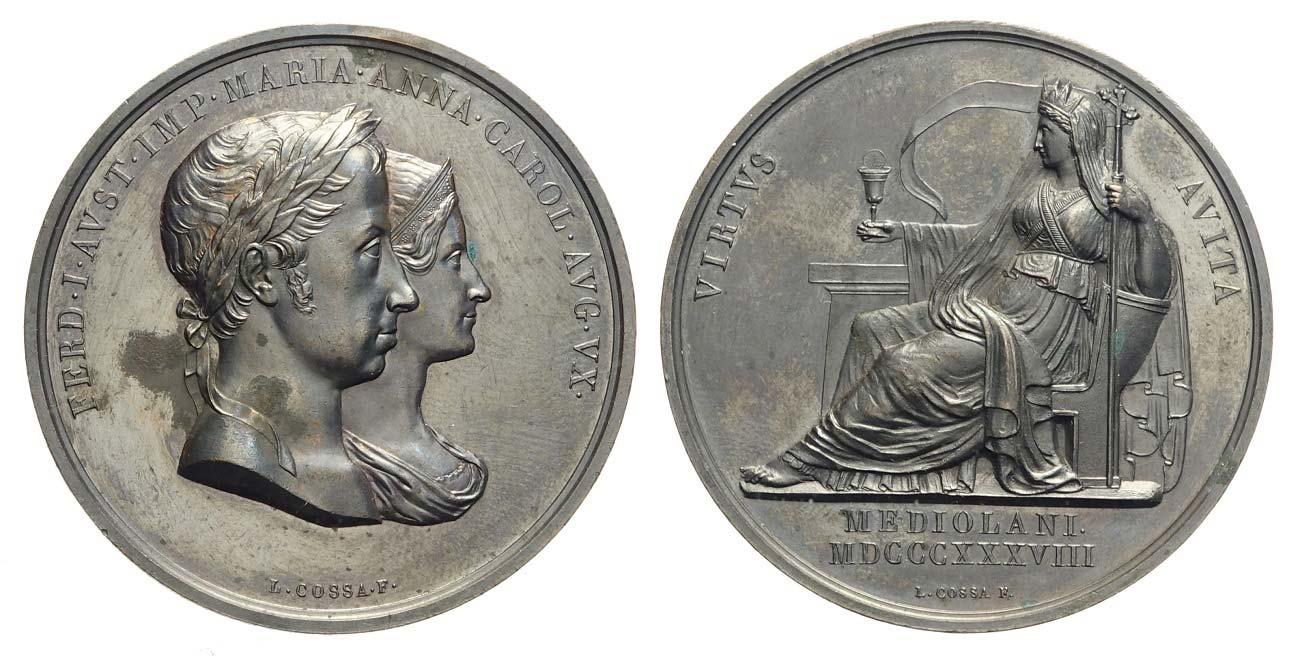 Fig. 9. 1838. Luigi Cossa, Ferdinando I e Marianna Carolina, incoronazione a Milano (Ae, mm 51,7; collez. privata)