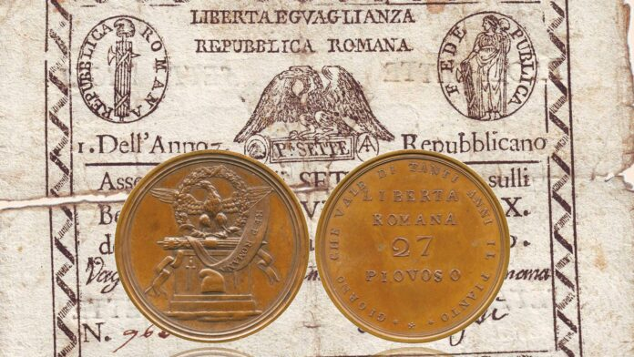 Una medaglia giacobina dalla legenda papalina