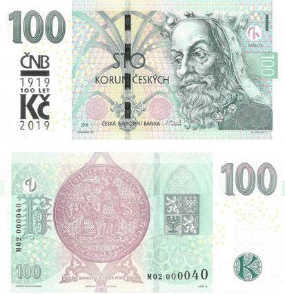 Le normali 100 corone di Praga sovrastampate per il centenario della valuta nazionale