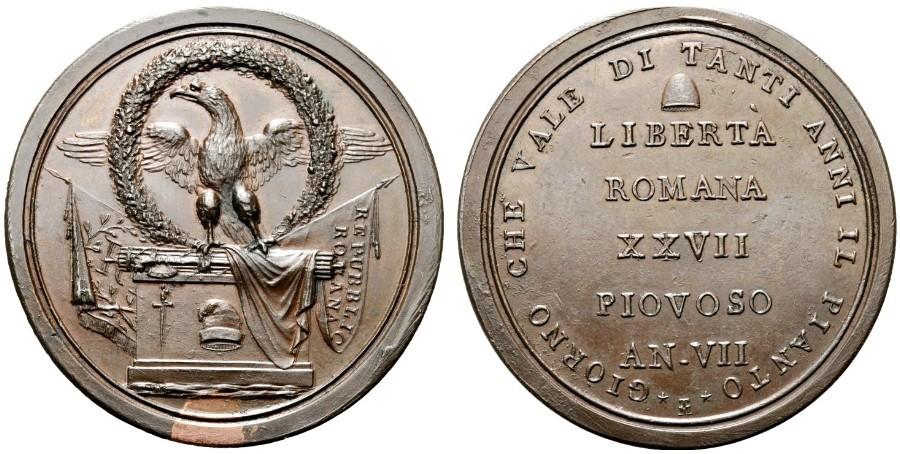 Eccezionale esemplare in argento della medaglia (per alcuni scudo) che celebra l'istituzione della Prima Repubblica Romana nel 1798