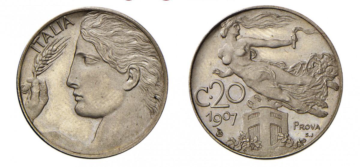 """Esemplare di prova SJ dei 20 centesimi """"Libertà librata"""" con millesimo 1907"""
