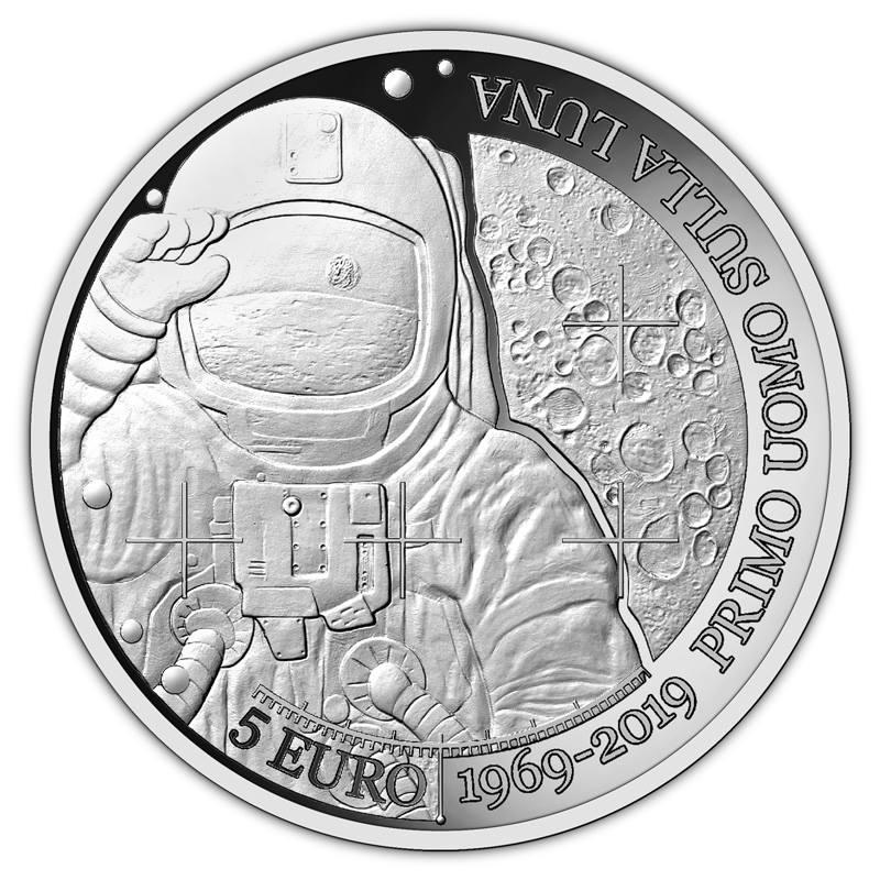 La moneta che San Marino dedica al mezzo secolo dell'uomo sulla Luna