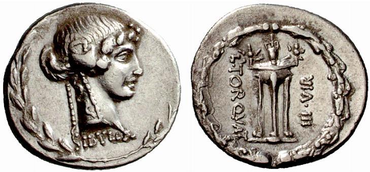 Il denario a nome del triumviro L. Manlius Torquatus (65 a.C.)