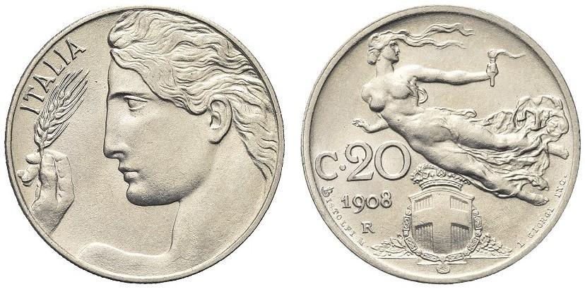 """Esemplare fior di conio della prima annata di serie dei 20 centesimi in nichelio """"Libertà librata"""", il 1908"""