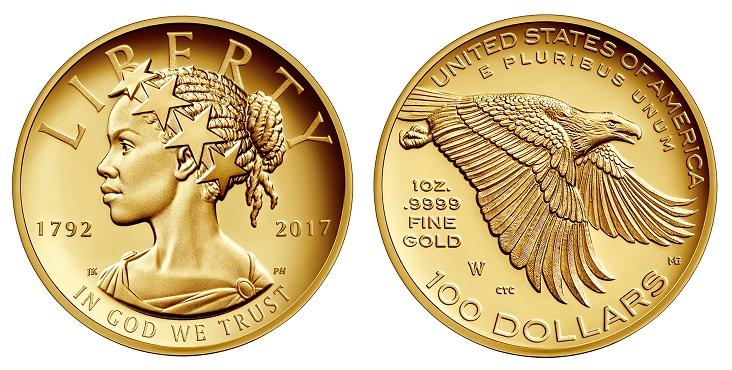 Bellissima, la Lady Liberty afro americana giudicata la più bella moneta d'oro del 2017