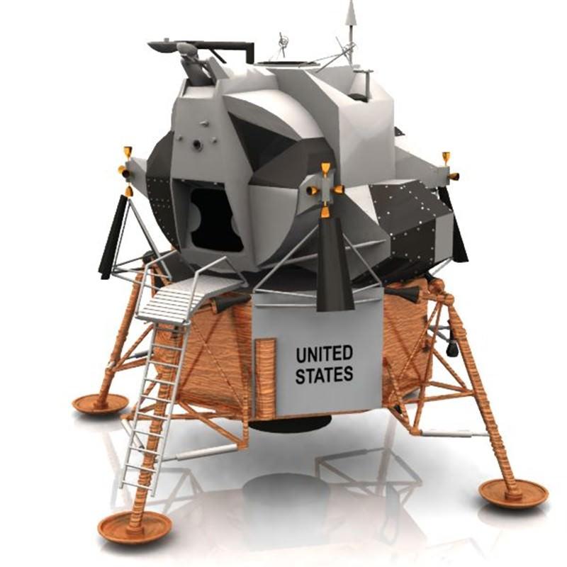 """Modello del """"Lunar Lander"""" chiamato """"Eagle"""" e usato nel 1969 per la discesa sul nostro satellite dei primi astronauti"""