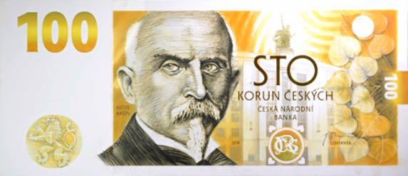 Alois Rasin sul fronte delle 100 corone celebrative emesse a fine gennaio