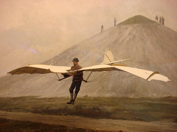 Otto Lilienthal in un dipinto che ne ritrae l'atterraggio dopo una planata dal fianco di una collina