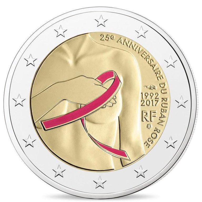 Con o senza nastro rosa, è suggestiva e importante la 2 euro di Francia che sensibilizza sulla lotta contro il tumore al seno