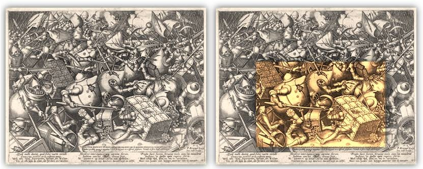 Il dettaglio del disegno di Bruegel isolato come soggetto dei 10 euro
