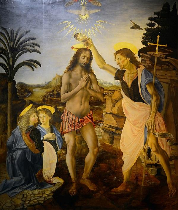 """""""Battesimo di Cristo"""" di Leonardo, Verrocchio e artisti di bottega, realizzato tra il 1475 e il 1478"""