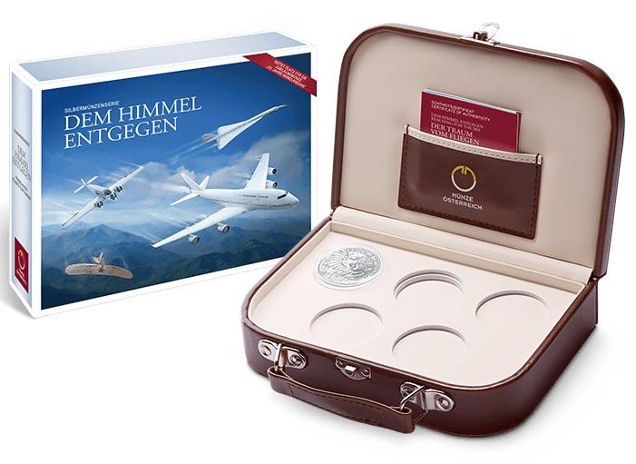 """La """"cabin bag"""" che conterrà le monete austriache dedicate alla storia del volo umano"""