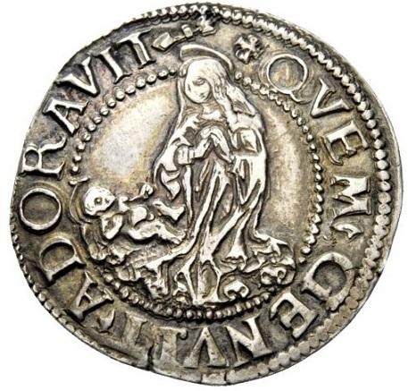La splendida Madonna orante con Gesù bambino al rovescio della moneta