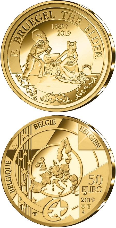L'avidità sulla moneta in oro da 50 euro del Belgio