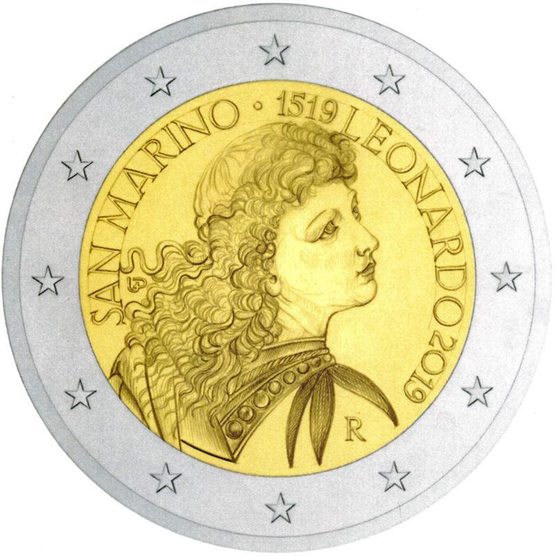 Leonardo (e Verrocchio) celebrati sui 2 euro di San Marino 2019