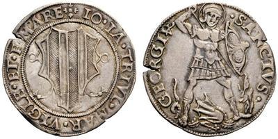 Non solo soggetti sacri: in questo testone post 1498, Gian Giacomo fa appello a san Giorgio, patrono della cavalleria, raffigurato nell'atto di sconfiggere il drago
