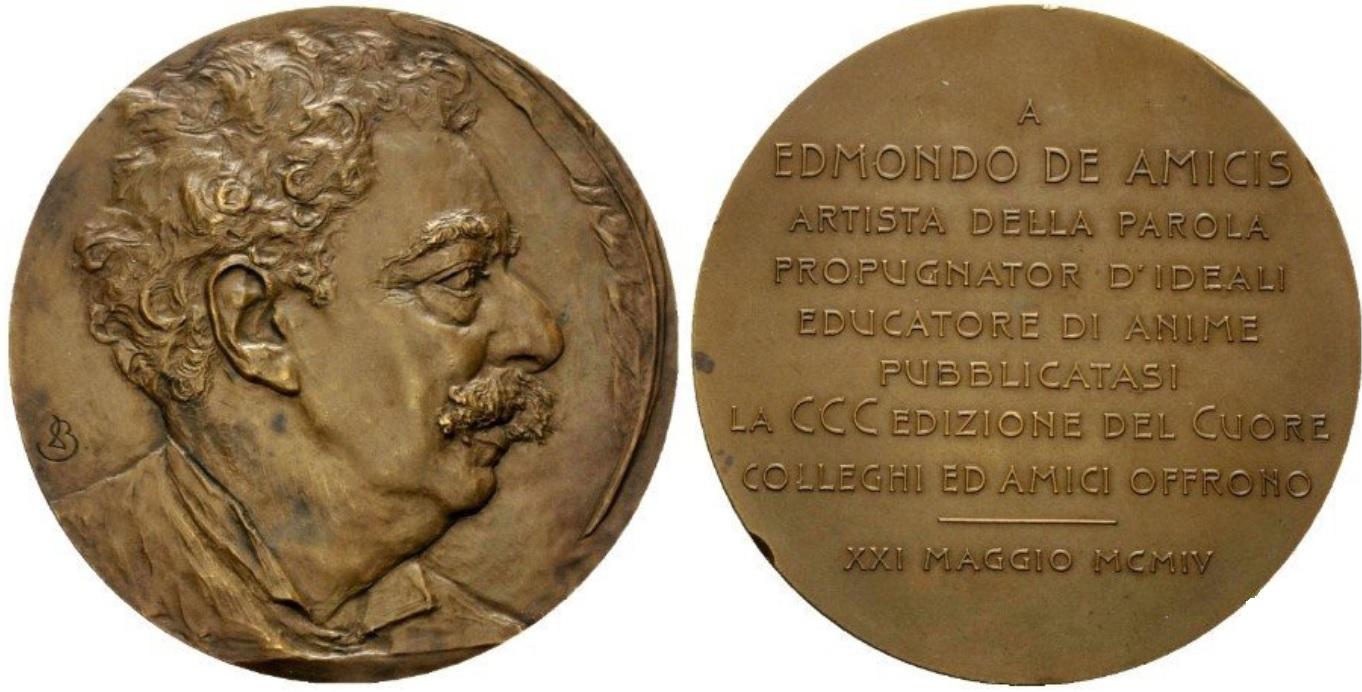 """Non sono molte le medaglie firmate Leonardo Bistolfi: questa del 1904, coniata in bronzo con diametro di mm 70, è dedicata alla 300a edizione del libro """"Cuore"""" di De Amicis"""