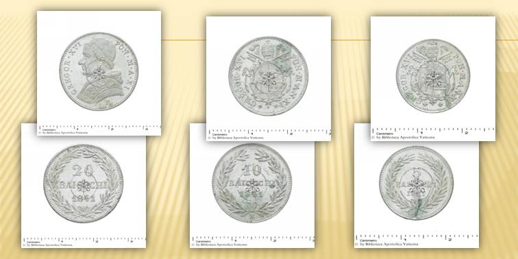 A s. Fig. 8, Moneta da 20 baiocchi emessa da Gregorio XVI nel 1841