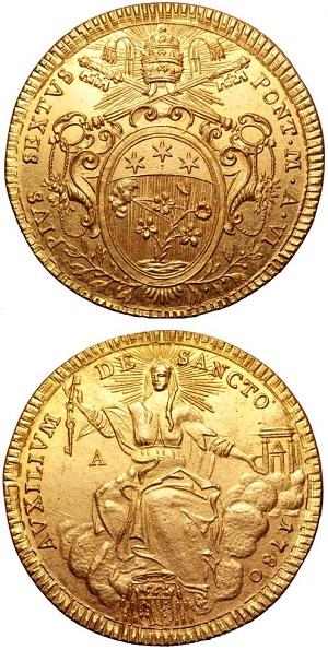 Lo scudo, unico, coniato in oro ad Ancona durante la I Repubblica Romana