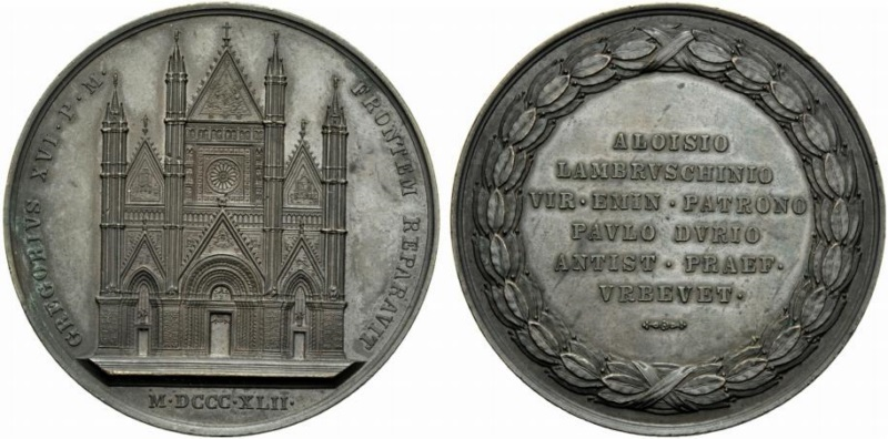 La medaglia originale in bronzo, diametro mm 60, realizzata da Giuseppe Girometti nel 1842