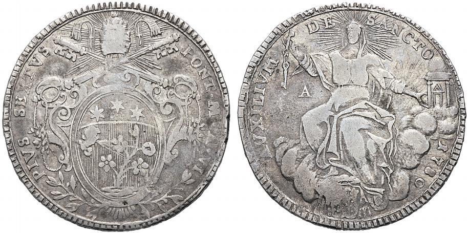 Raro scudo in argento a basso titolo battuto con i conii di Pio VI nel 1799 dalla zecca di Ancona