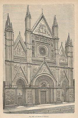 Xilografia ottocentesca raffigurante la facciata del Duomo