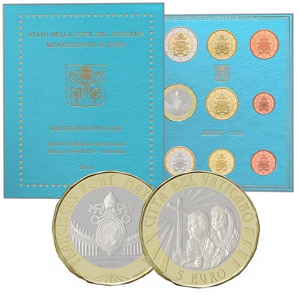 La serie vaticana Fdc 2019 con aggiunti i 5 euro bimetallici opera di Patrizio Daniele