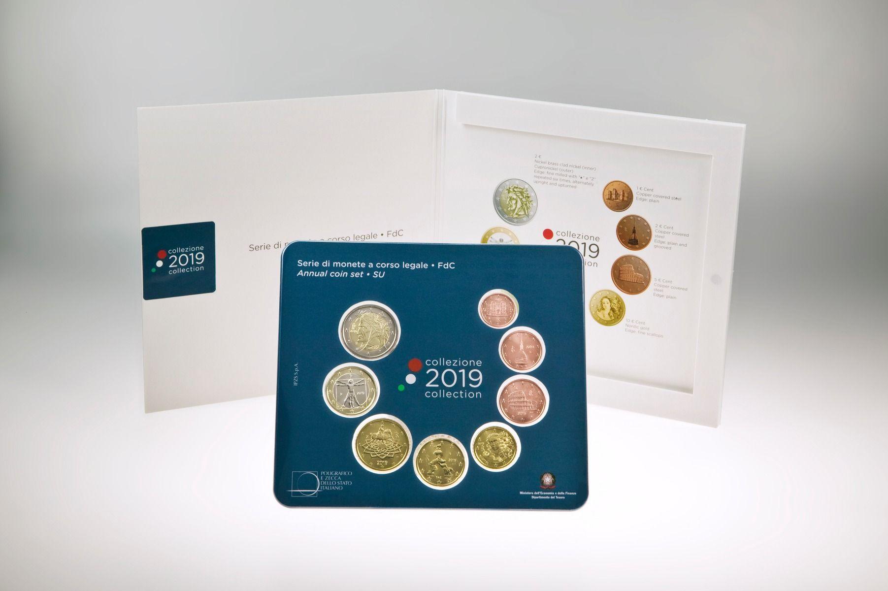La divisionale italiana 8 pezzi 2019 in versione standard emessa il 15 marzo