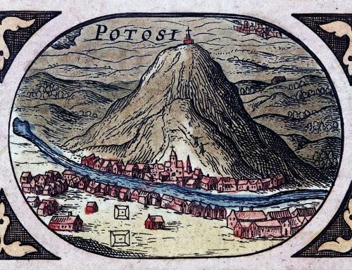 """Il """"Cerro Rico"""" di Potosì in un'incisione acquerellata che mostra la grande montagna, culla deì giacimenti d'argento, e la città cresciuta ai suoi piedi"""