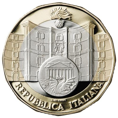 Lo storico palazzo romano sede del Comando Carabinitieri TPC, il simbiolo dell'Arma e il logo del Comando al dritto della 5 euro commemorativa