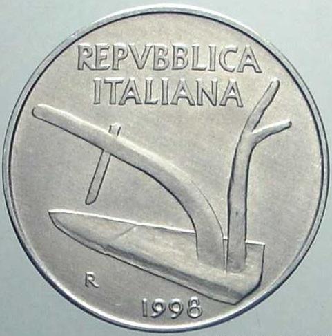 """Dritto di una 10 lire 1998 """"spighe lunghe"""""""