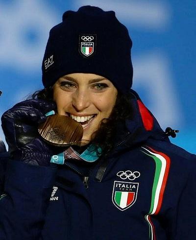 L'azzurra Federica Brignone, terza nel Super-G femminile e vincitrice della classifica di combinata 2018-2019